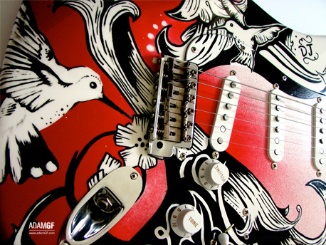illustration and paint finish for custom Fender Stratocaster